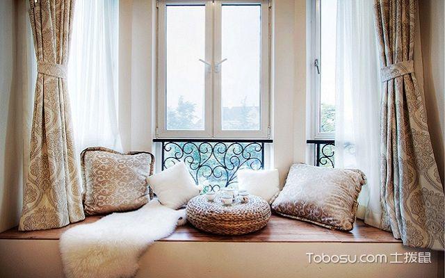 榻榻米窗户窗帘效果图绸缎