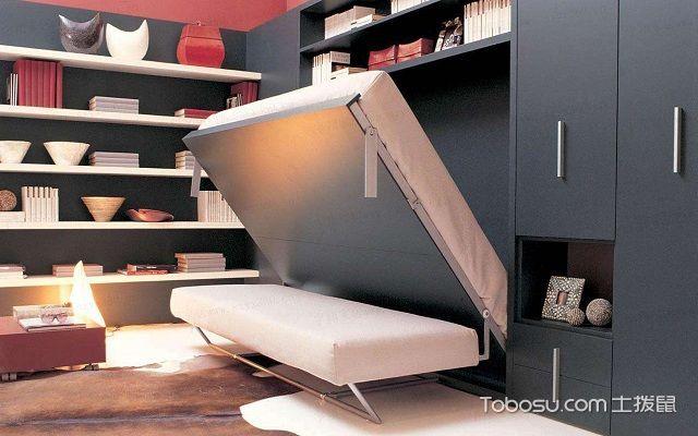 实木隐形床效果图书柜型
