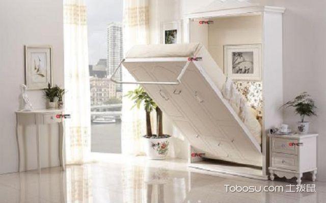 实木隐形床效果图边柜型