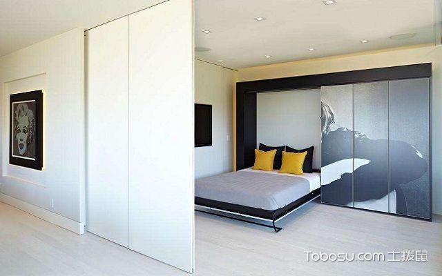 实木隐形床效果图衣柜型