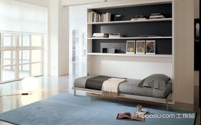 实木隐形床效果图折叠