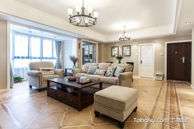 沙发不靠墙装修效果图米色