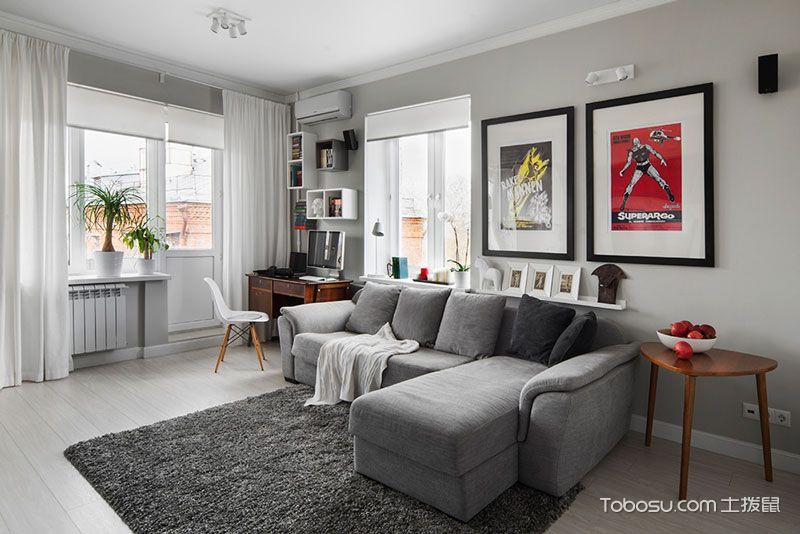 白灰色简约风格客厅图片_土拨鼠装修经验