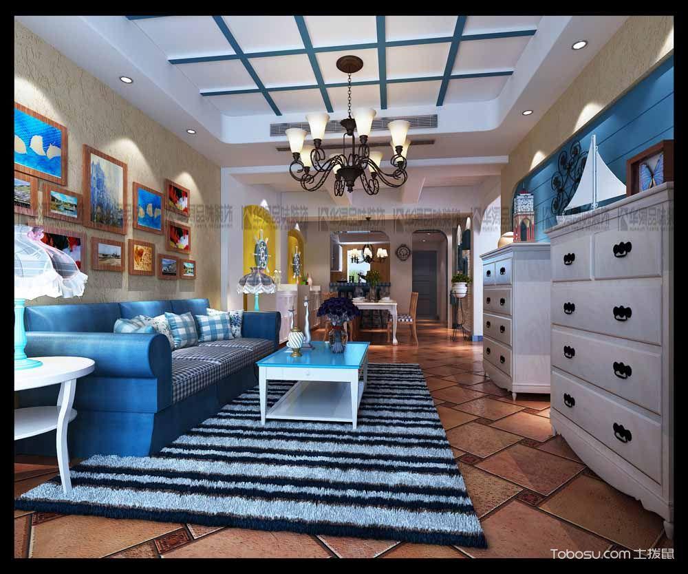 深蓝色客厅装修图片_土拨鼠装修经验