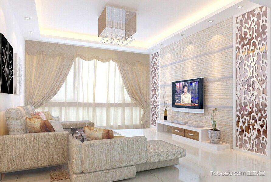 乳白色简约客厅装修图片_土拨鼠装修经验