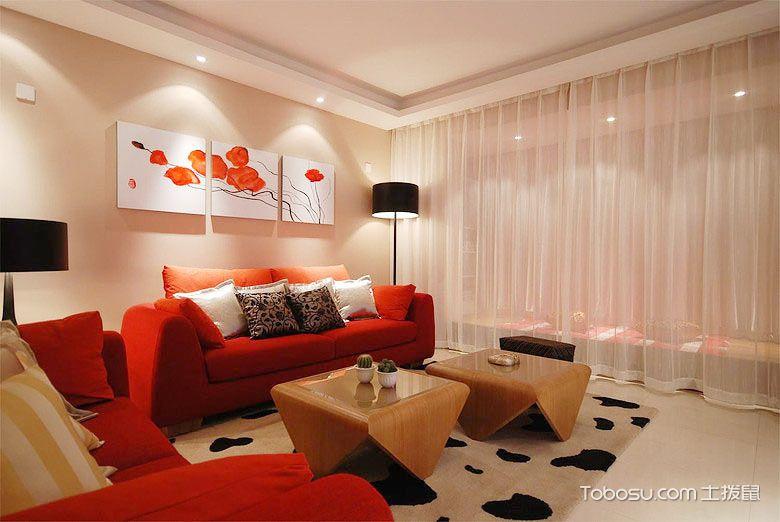 客厅大红色沙发图片_土拨鼠装修经验