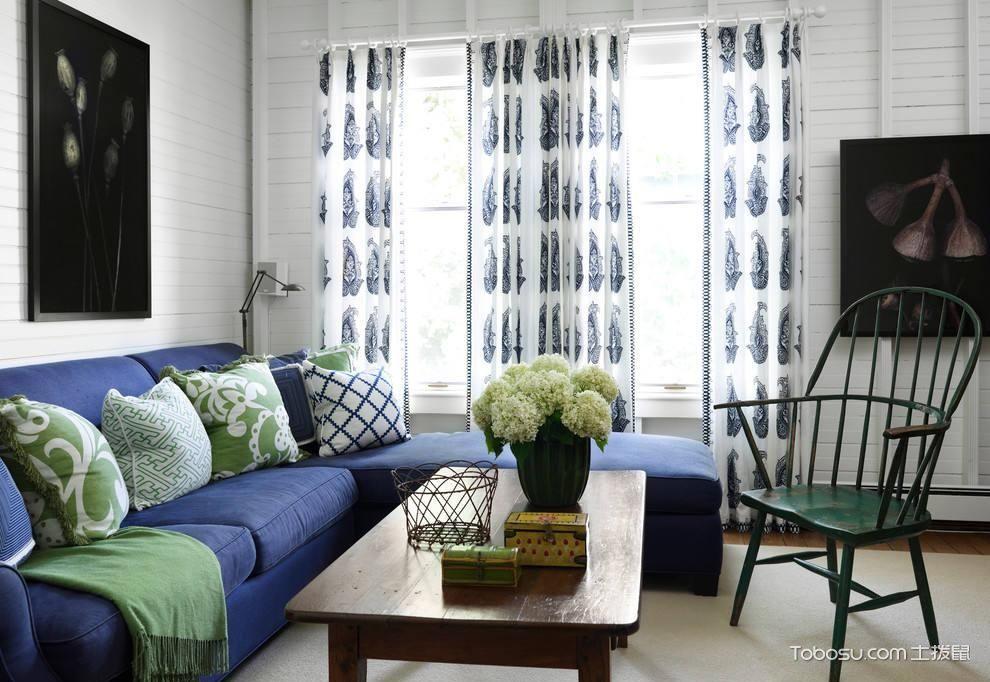 客厅蓝色沙发图片_土拨鼠装修经验