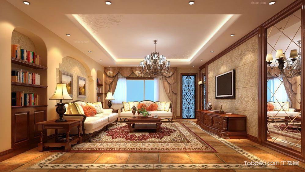 美式风格客厅装修图片_土拨鼠装修经验