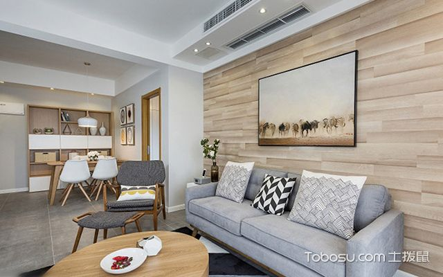 70平米两室一厅装修图客厅设计