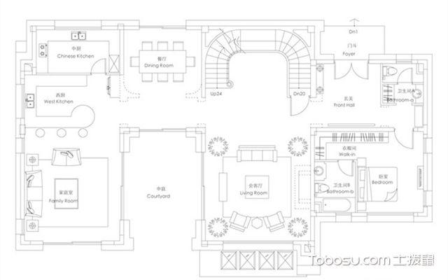 别墅户型图模板二下层