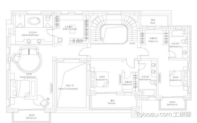 别墅户型图模板二上层