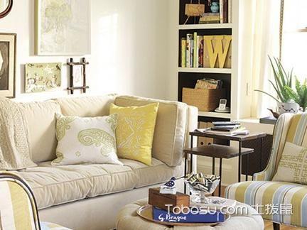 田园风格客厅搭配白色沙发黄色靠枕图_土拨鼠装修经验