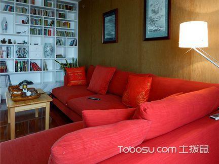 正红色的布艺沙发客厅_土拨鼠装修经验