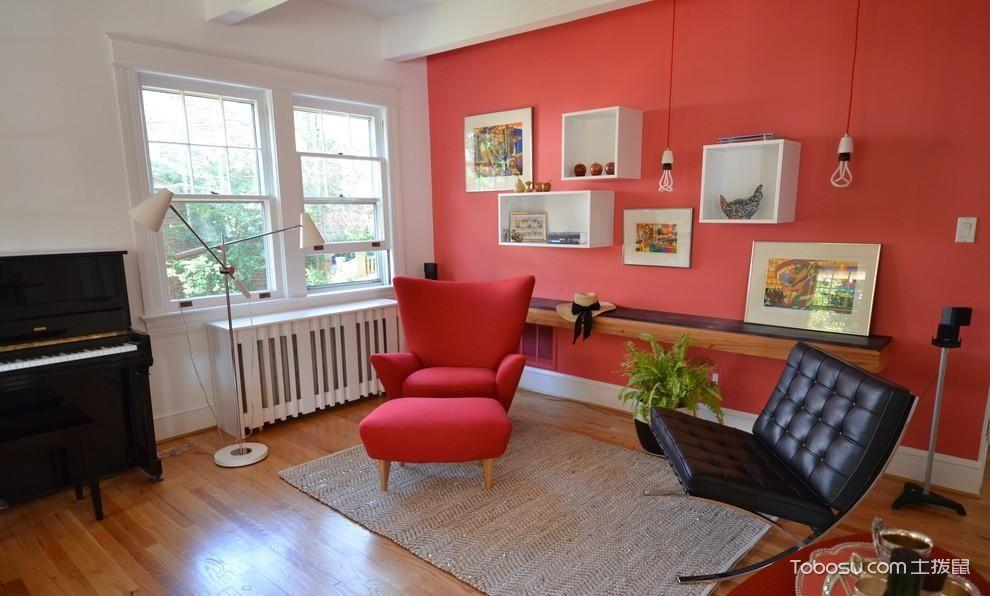 客厅墙面红色图片_土拨鼠装修经验