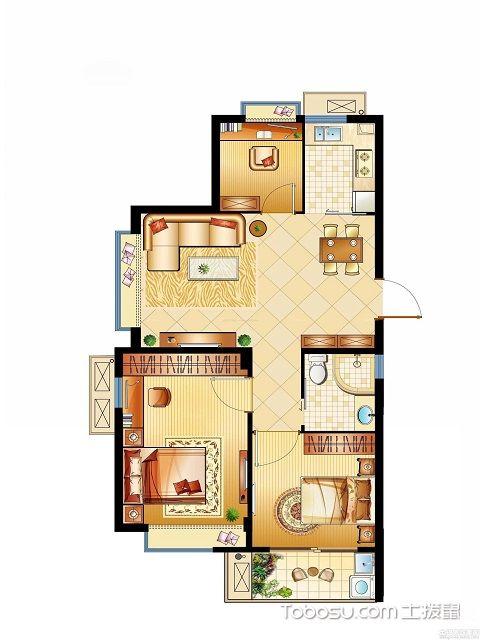 90平米三室一厅户型图