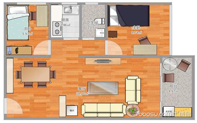 66平方二房一厅装修户型图