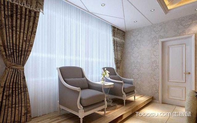 阳台窗帘效果图之双层窗帘