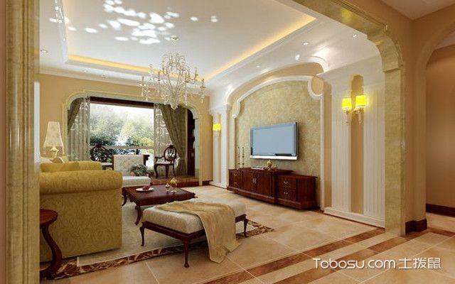 罗马柱电视墙效果图 暖黄色