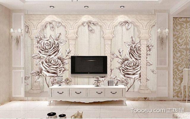 罗马柱电视墙效果图 白色