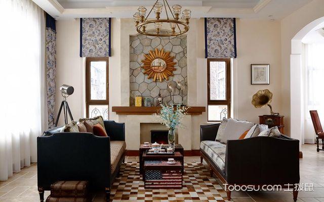 美式窗帘效果图 别墅