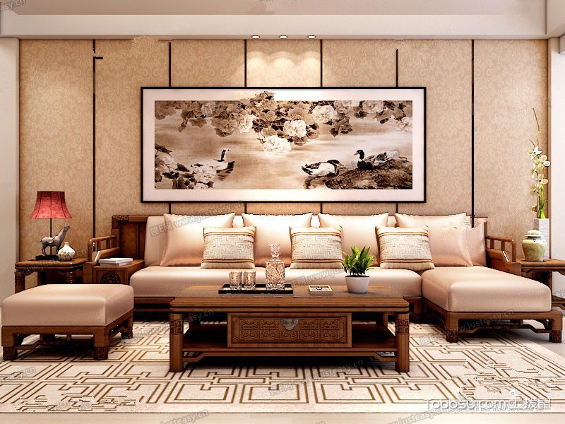 中式红木沙发茶几