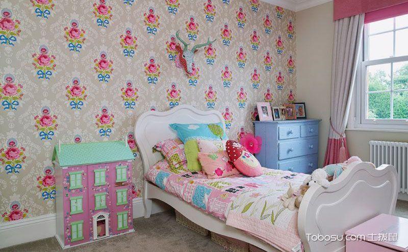 女生卧室壁纸装修效果图,满满的甜蜜与可爱