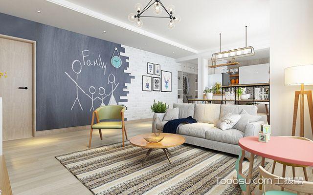灰蓝加白的 背景墙设计很有创意,从入户玄关处一直延伸到客厅中,简图片