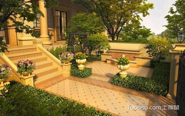 一般在庭院的四周围墙处会种植一圈绿植,可以阻碍别墅外面的视线,也图片