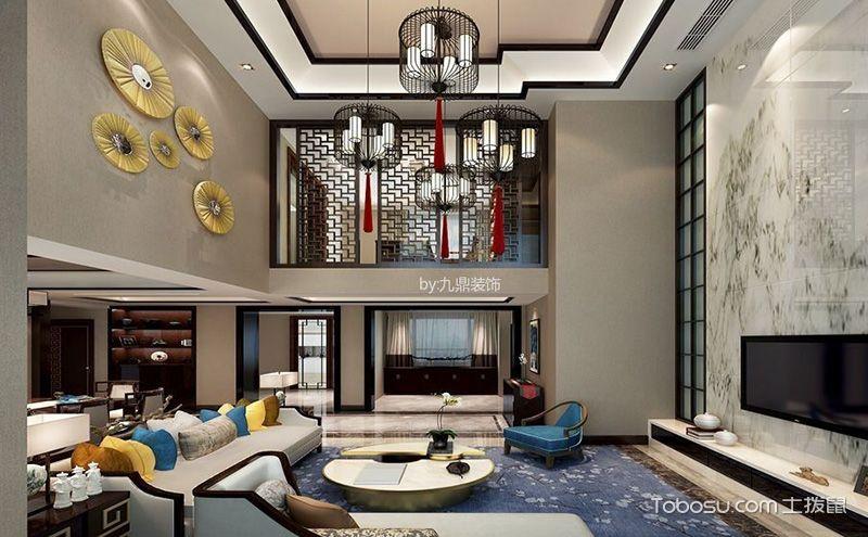 中式楼中楼客厅装修效果图,外表大气内蕴非凡