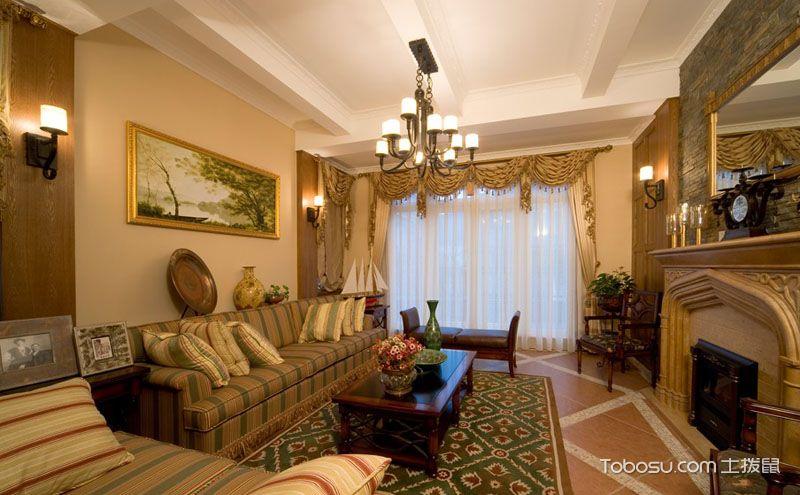 美式乡村客厅装饰效果图,瞬间提升客厅的颜值