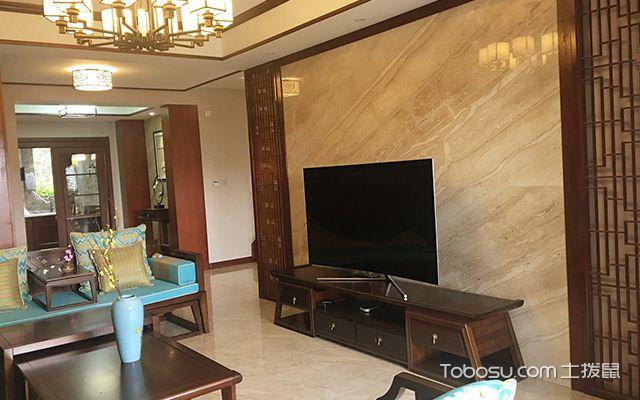 这一款中式风格的电视背景墙设计,采用文化石来装饰,自然的色泽图片