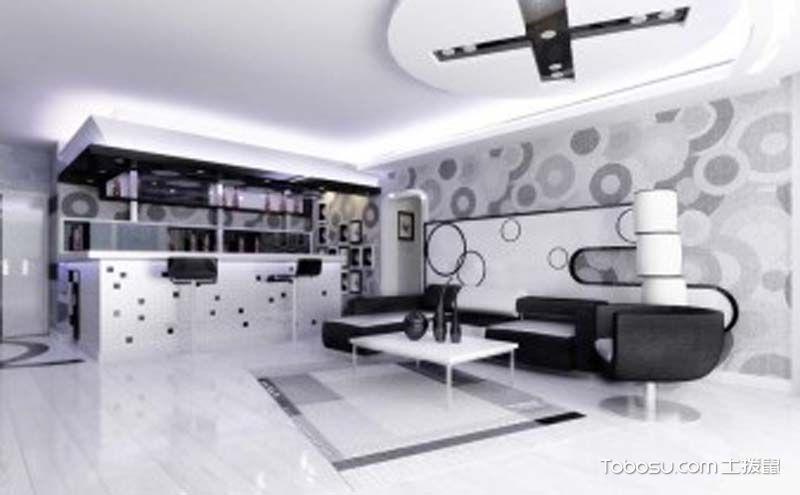 简单风格一室一厅装修效果图鉴赏,黑白搭配演绎经典时尚