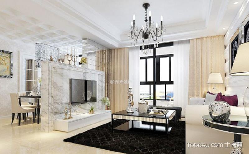 简欧风格二居室装修效果图 ,时尚与浪漫气息并存
