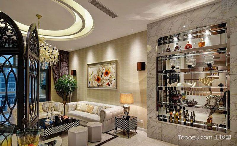 客厅酒柜装修效果图,衬托你的高大上