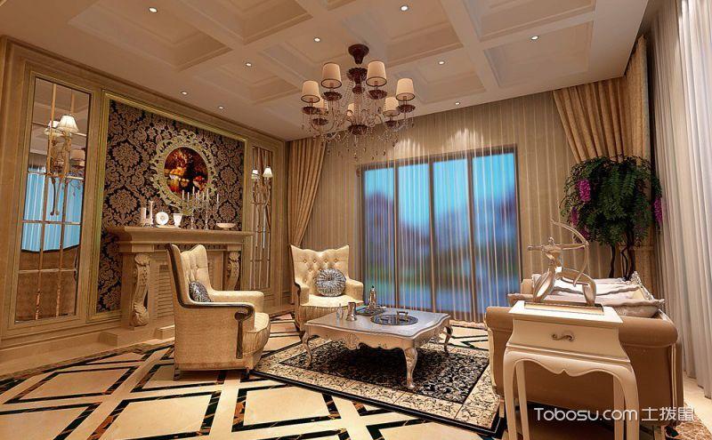 欧式风格客厅窗帘装修效果图鉴赏,奢华大气中演绎经典时尚