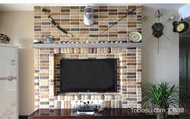 砖块电视背景墙装饰布置