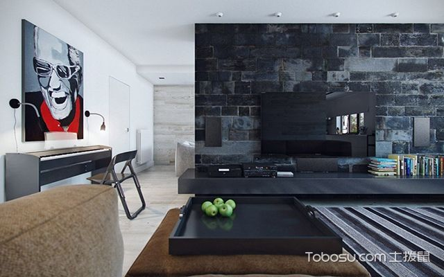 客厅砖块电视背景墙装潢设计图片