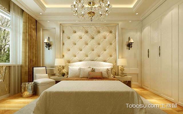 床头软包背景墙之圆点相交床头背景墙设计