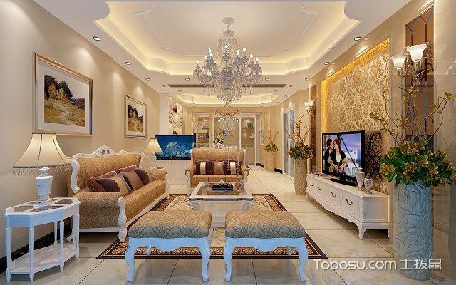 欧式客厅风格 装修的一般特点就是金碧辉煌,暖色系搭配调和装修,烘托图片