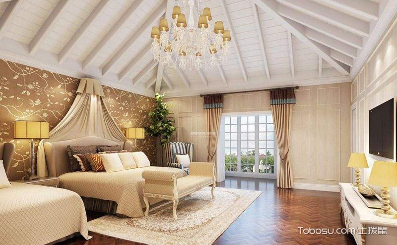 阁楼吊顶装潢图片,并不只是实木横梁