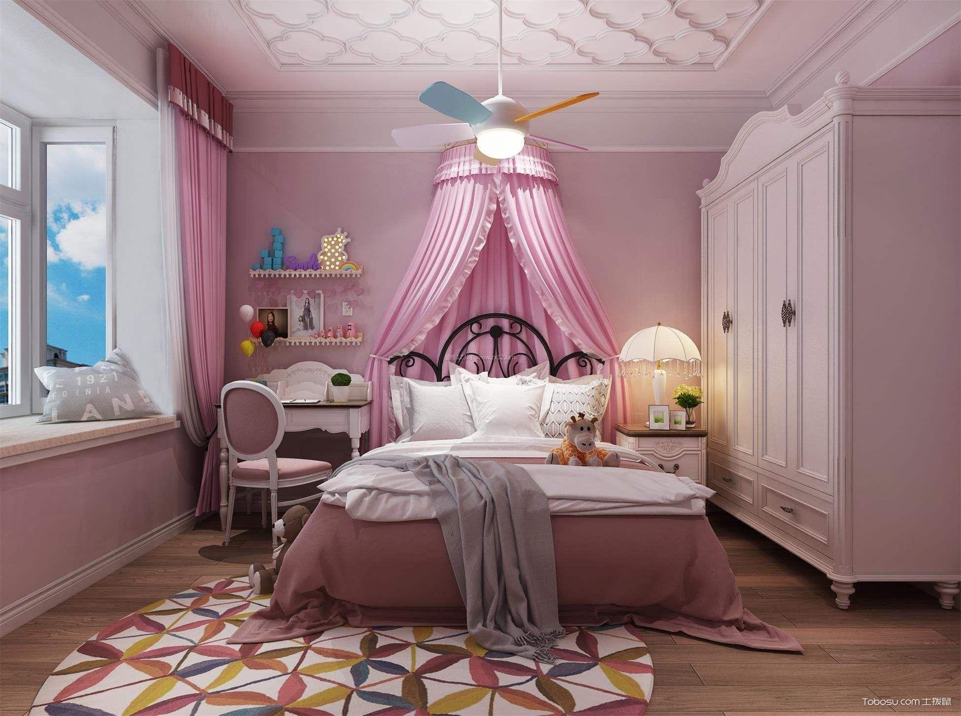 欧式公主卧室装修效果图,恋上那抹粉色调图片