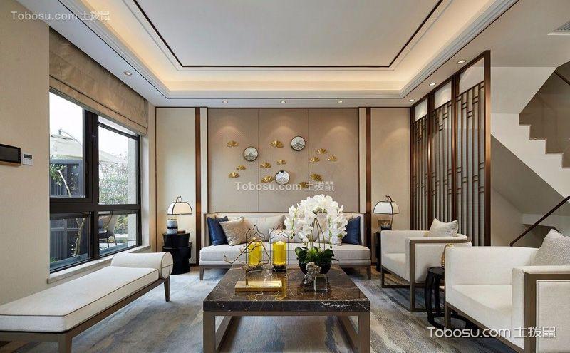 新中式别墅客厅效果图,古韵天成华而不奢