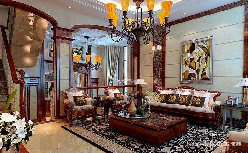 中式混搭客厅装修效果图,意想不到的别致