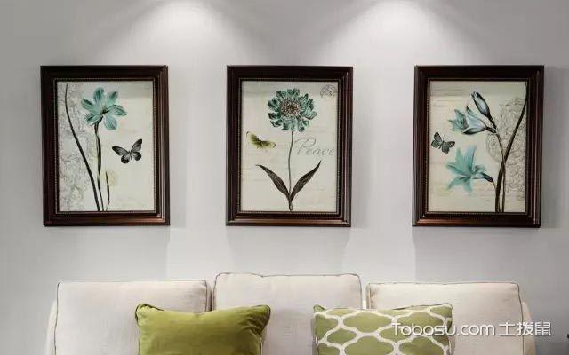 客厅沙发背景墙三幅装饰画
