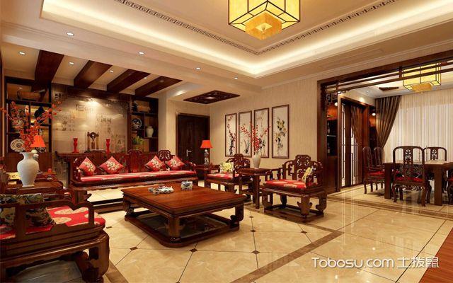 房子装修地板砖效果图之中式风格