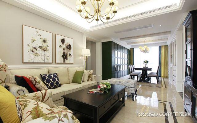 128平米美式三室两厅效果图客厅