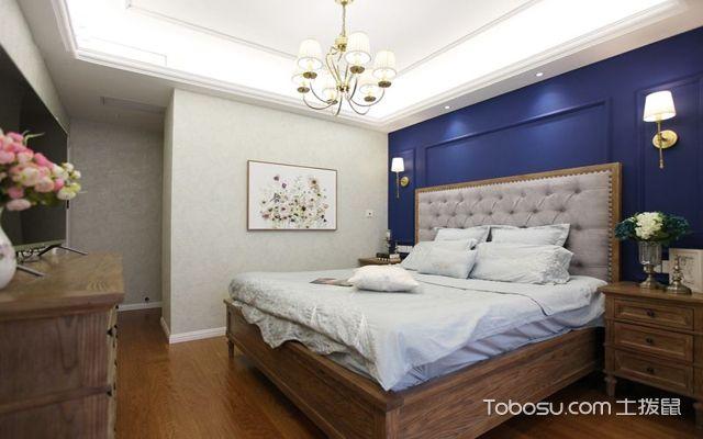 128平米美式三室两厅效果图主卧