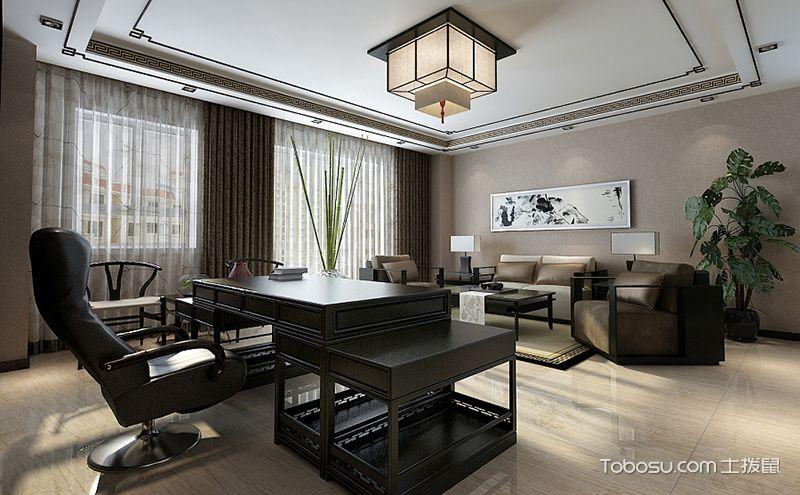 新中式办公室装修设计图,简单的装饰一样大气盎然