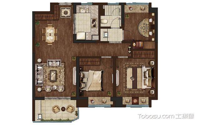 95平米三室两厅装修案例—户型图