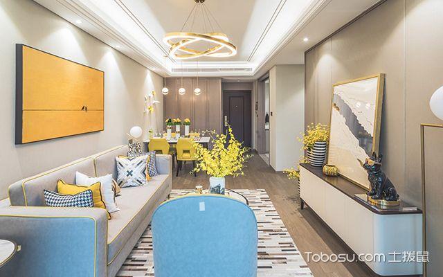 95平米三室两厅装修案例—客厅